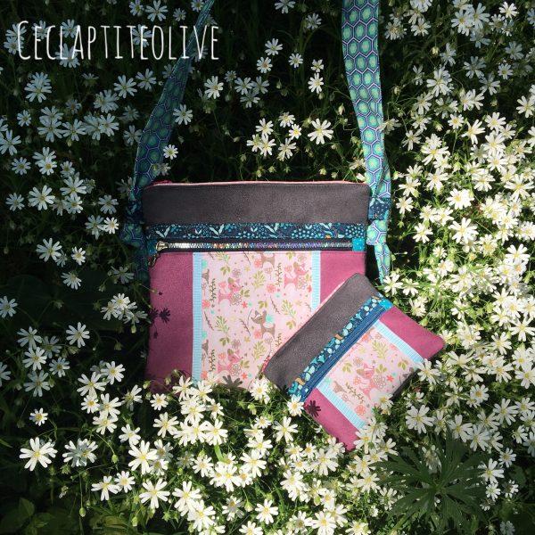 sac-portemonnaie-twozip--poches-suédine-noir-bordeaux-rouge-fleurs--bandoulière-ceclaptiteolive-couture-création-vendée-atelier-tutoriel