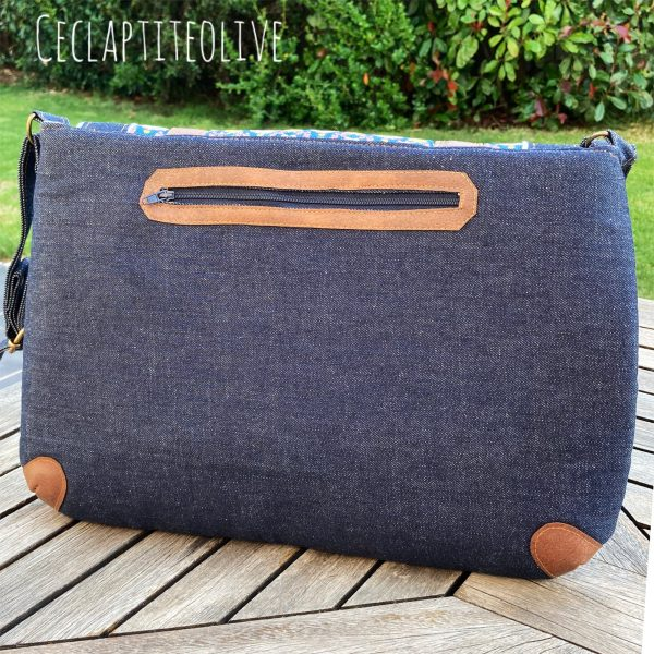 Sac-besace-cartable-work with me-jean-velour-simili-coton-ceclaptiteolive-couture-création-vendée-atelier-tutoriel-Patron